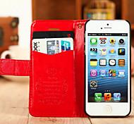 Per Custodia iPhone 5 Porta-carte di credito / Con supporto Custodia Integrale Custodia Tinta unita Resistente Similpelle iPhone SE/5s/5