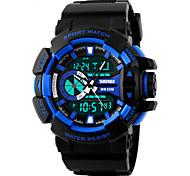 SKMEI Masculino Relógio Esportivo Relógio de Pulso QuartzoLED Calendário Cronógrafo Impermeável Dois Fusos Horários alarme Relógio