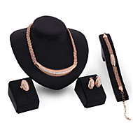 Austrian Crystal 18k Gold Plated Necklace jewelry sets Women Wedding Necklace Bracelet Earring Ring African  Jewelry Set