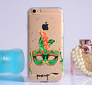 Green Mask Pattern Transparent TPU Soft Case for iPhone 6/iPhone 6S
