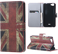 Vintage UK Flag  Card Holder Leather Stand Case for Wiko Rainbow Jam