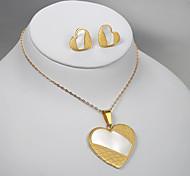 European and American fashion golden peach heart titanium steel sandwich earrings Necklace Set