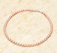 gota de água colar de pérolas naturais de água doce em forma w / fecho da lagosta - rosada roxo (40cm)