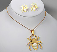 European and American fashion hollow titanium steel spider earrings gold necklace sets
