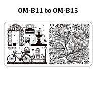 5pcs 12cmX6cm Nail Art Stamping Plates Fashion Design Polish Stamp Print Stencil Template (OM-B11 to OM-B15)