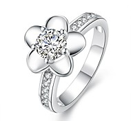 Big Flower Diamante White Silver-Plated Statement Rings(White)(1Pcs)