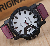 Men Imitation Linen Leisure Belt Wrist Watch