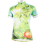 ilpaladinoSport Women Short Sleeve Cycling Jersey New Style Distinctive  DX587  Green leaves 100% Polyester