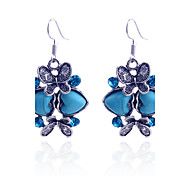 Korean Drill Butterfly And Turquoise Heart Drop Earring