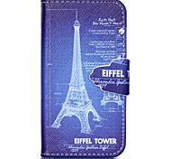 Finger Buckle Iron Tower Painted PU Phone Case for iphone4/4S