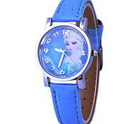 Children's Frozen Elsa And Anna Pattern Dial PU Band Quartz Cute Cartoon Wrist Watch Cool Watches Unique Watches Fashion Watch