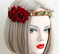 Red Rose Rattan Mori Girl Hair Band  Holiday Accessories