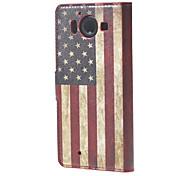 USA-Flagge Mappen-Lederstandplatzfall für Microsoft Nokia Lumia 950 N950