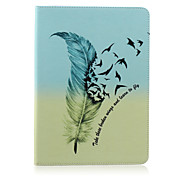 Feather Painted Bracket Tablet PU Case for Galaxy Tab S 10.5 T800/  E 9.6 T560/ A 9.7 T550/ 4 10.1 T530/S2 9.7