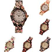 Genève femmes vestimentaire décontracté montres femme décontractée en plastique imprimé de fleurs montre à quartz femmes relógio Feminino
