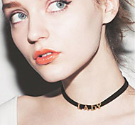 Women's Fashion New Metal Letters LADY Short Necklace/Collar