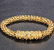 Homens Feminino Pulseiras de couro Aço Inoxidável Chapeado Dourado Esculpido Formato de Flor A B C D Jóias 1peça