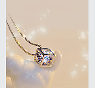 Delicate And Elegant Happiness Rubik's Cube Pendant Fashion Necklace Box Hexahedral Cube Crystal Silver Pendant