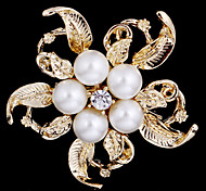 Alloy Pearl Scarf Clip Brooch Cloth Accessories for Women Party