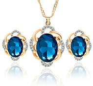 Hot 2 Color Fashion Flower Zircon Pendant Necklace Drop Earring Wedding Jewelry Set