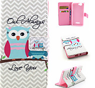 Owl Pattern Flip Card Leather Phone Case for Wiko RAINBOW