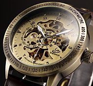 Men's Vintage Skeleton Bronzen Leather Band Automatic Self Wind Wrist Watch Cool Watch Unique Watch