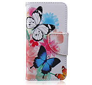 Butterfly Pattern PU Material Card Case for iPhone 5C
