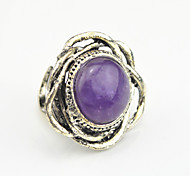 Vintage Antique Silver Flower Turquoise Amethyst Tiger Stone Adjustable Free Size Ring(1PC)