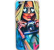 Sexy Girl Camera Pattern Transparent PC Back Cover for iPhone 6 Plus