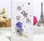 handgefertigte Diamant-blaue Rose-PU-Leder Ganzkörper-Fall mit Ständer für Samsung Galaxy Note 2/3/4/5