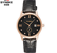 SYNOKE Men's Round Dial  Watch  Leather Strap Japanese Quartz waterproof Fashion Wrist Watch (Assorted Colors)