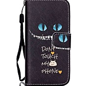 Cat Pattern PU Leather Material Flip Card Phone Case for iPhone 5C