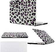 "Case for Macbook Pro 13.3""/15.4"" Leopard Print ABS Material 2 in 1 Black/Purple Leopard Hard Plastic Cover Case + Transparent Keyboard Cover"