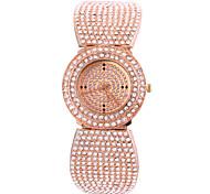 Rectangle plein de diamants des femmes composer bande en acier montre-bracelet analogique quartz rose montres en or