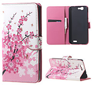 Plum Blossom Pink Plum Magnetic Leather Wallet Handbag Book Cover Case For Flip Huawei ascend G7