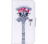 Finger Buckle Ostrich Head Painted PU Phone Case for iphone5/5S