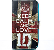 Retro UK Flag and Keep Me Calm and Love Pattern Card Stand Leather Case with Card Slot for iPhone 6 Plus / 6S Plus