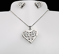 European and American fashion titanium steel silver peach heart plum CZ Earrings Necklace Set
