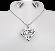 European and American fashion titanium steel silver peach heart plum CZ Earrings Necklace Set