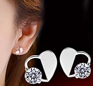 Silver Heart-shaped  Diamond  Hypoallergenic Earrings