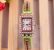 Ladies Watch Geneva Aliexpress Korean Elegant Colorful With Diamond Dial PU Quartz Watch With MS.