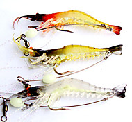 3pcs Fishing Lures 95mm/6.4g Luminous Shrimp Soft Bait with Hook Random Color