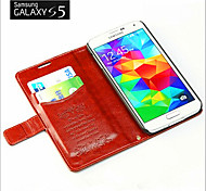 PU Leather Oil Wax Paper Printing Money Card Support For Samsung S5 Mobile Phone Protection