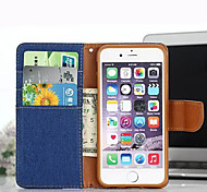 Luxury Denim PU Leather Wallet Flip Case for iPhone 6S/6 Plus