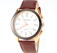 Men Simple Dress Design Leather Band Quartz Watch
