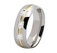 Z&X® Fashion Rhinestone Scrub Titanium Steel Ring Band Rings Party / Daily / Casual 1pc