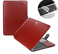 "Fashion 2 in 1  PU Leather Laptop Case Cover For Macbook Air 11""/13"" + Transparent Keyboard Cover Protecter"
