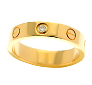 Fashion Stainless Steel Gold Plated CZ Crystal Women Finger Ring Jewelry(1PC)