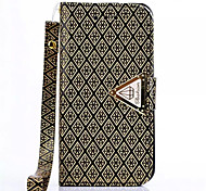 Diamond Design Leather Flip Stand Wallet Wrist Strap Rope Cover Case For iPhone 4/4S