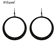 D Exceed New Stainless Steel Simple Black Big Hoop Earrings for Women Black Solid Round Party Earrings for Women